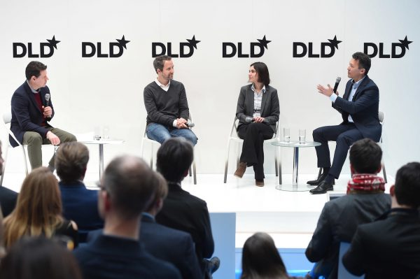 Florian Reuter (Volocopter), Mariana Avezum (WARR Hyperloop & WeMuv) and Dirk Hoke (Airbus Defence and Space), Greg Williams (WIRED UK)