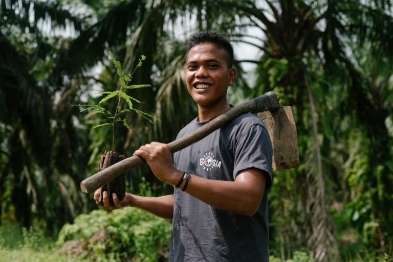 Ecosia, search engine, worker planting trees, Indonesia, climate change