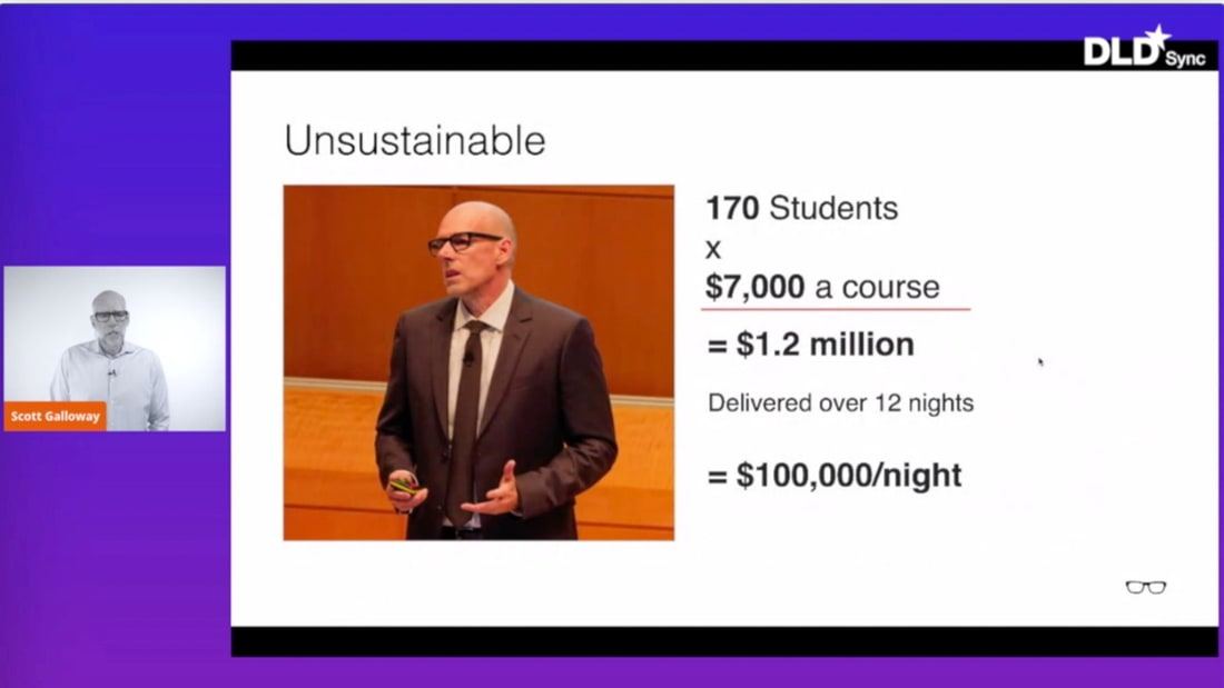 Scott Galloway, university education, cost, change, disruption, DLD Syc, presentation
